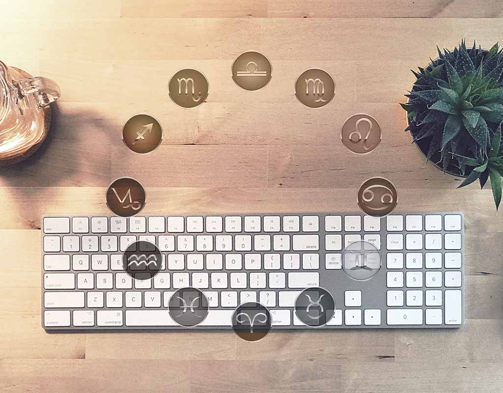 Zodiac signs and keyboard keys